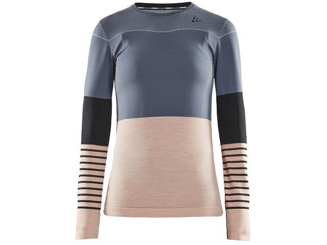 Craft Fuseknit Comfort Blocked Rundhals-Langarmshirt Damen asphalt/touch